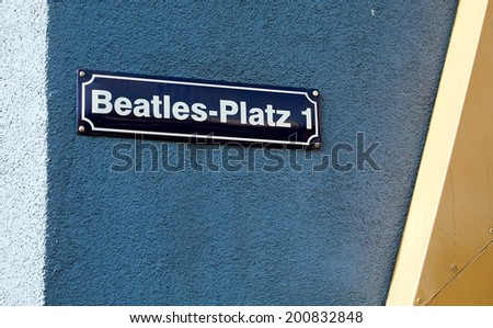 Beatles square title on the wall, Reeperbahn street, Hamburg, Germany - stock photo