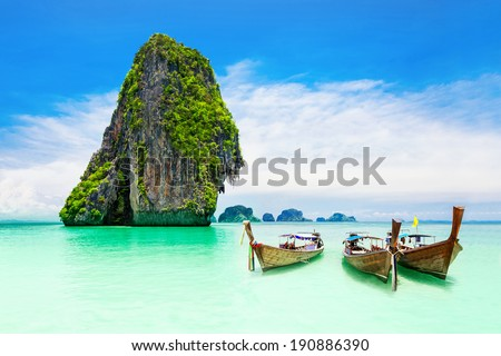 Beaty limestone rock in the ocean - stock photo