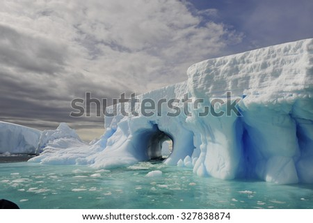 Beatyful Icebergs in Antarctica travel on the ship - stock photo