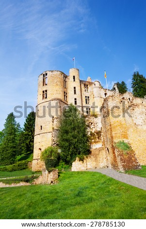 Beaufort castle ruins in Luxembourg  - stock photo