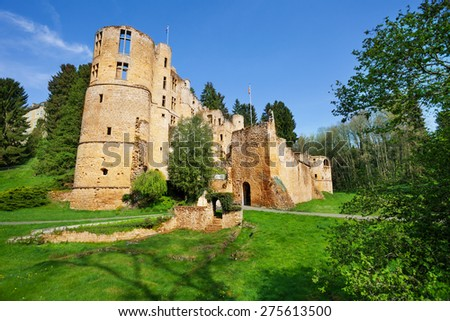 Beaufort castle tower ruins - stock photo
