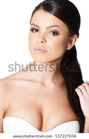 Beauitul sweet girl posing on white background and looking at camera - stock photo