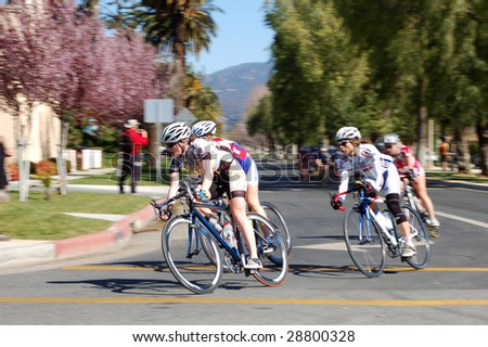 BEAUMONT, CA - MARCH 27: Competitors in the Stage 1 road race of the Redlands Bicycle Classic March 27, 2009 in Beaumont. The first race was held in 1985.