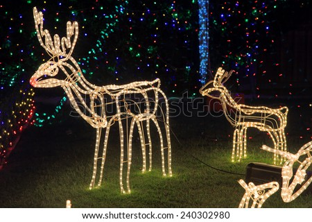 BEAUMONT HILLS, AUSTRALIA; DECEMBER 24, 2014; Brightly lit  by led tube lights reindeer in garden - Christmas decorations with background coloured party led lights. - stock photo