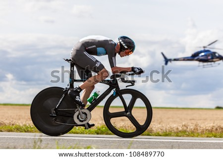 BEAUROUVRE,FRANCE,JUL 21:The British cyclist Froome Christopher (Sky Procycling) pedaling during the 19th stage of Le Tour de France 2012, a time trial  between Bonneval and Chartres on July 21 2012. - stock photo