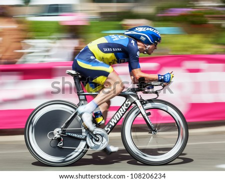BEAUROUVRE,FRANCE,JUL 21:The cyclist  Nuyens Nick (Saxo-Bank Thinkoff Bank) riding during the 19 stage- a time trial  between Bonneval and Chartres- of Le Tour de France on July 21 2012. - stock photo