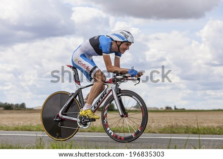 BEAUROUVRE,FRANCE,JUL 21:The Estonian cyclist Rein Taaramae from Cofidis Team pedaling during the 19 stage- a time trial between Bonneval and Chartres on July 21 2012