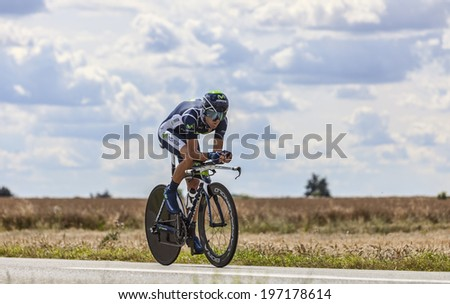 BEAUROUVRE,FRANCE,JUL 21:The Spanish cyclist Alejandro Valverde from Movistar Team pedaling during the 19 stage- a time trial between Bonneval and Chartres on July 21 2012 - stock photo