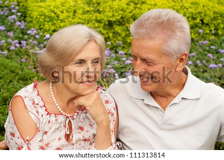 Beauteous elderly couple went for a walk together