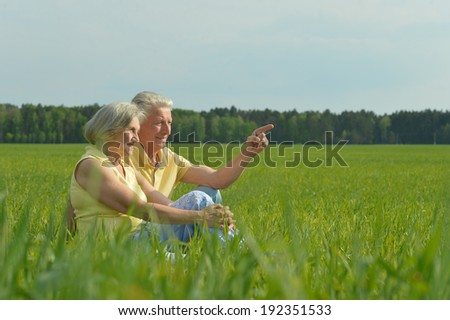 Beauteous old couple in the middle of the field
