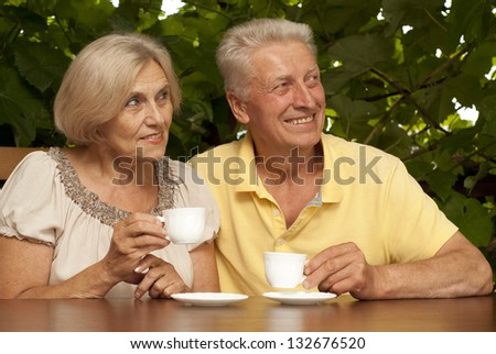 Beauteous older couple sitting at a table at home on the veranda - stock photo