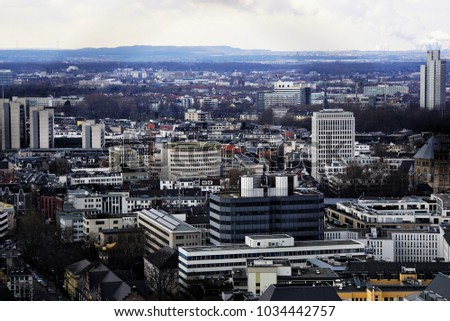 Beautfiul View of Cologne, Germany. The City From Above.