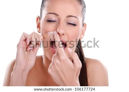 Beautician depilating, young woman getting waxing mustache - stock photo