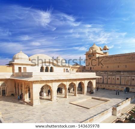 Beautifoul Amber Fort near Jaipur city in India. Rajasthan - stock photo