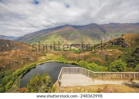Beautifu Diamond Lake near Wanaka, South Island, New Zealand - stock photo