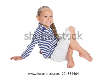 Beautifu girl in the form of a sailor boy. Girl is six years old. - stock photo