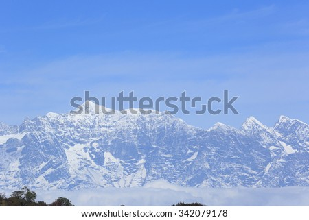 beautifu snow mountain landscape - stock photo