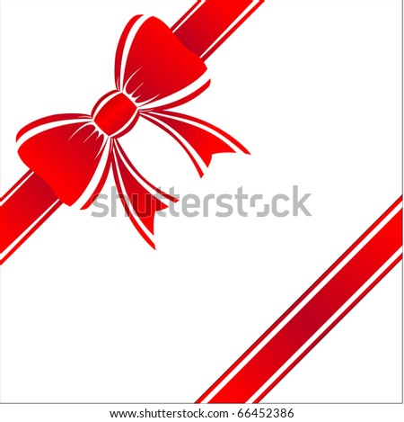 Beautiful a red gift bow on a white background.