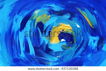 Beautiful abstract background, blue and gold colors - stock photo