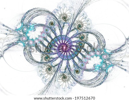 Beautiful abstract fractal shapes on white background - stock photo