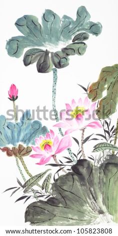 beautiful abstract lotus-Traditional Chinese Painting - stock photo