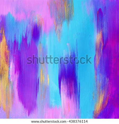 Beautiful abstract painting, cayn blue and pink colors,acrylic