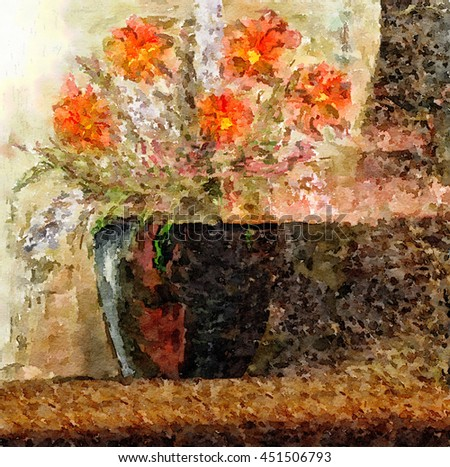 Beautiful Abstract Painting with Vase and Red Flowers