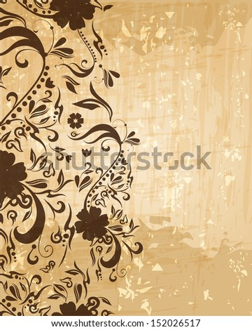 Beautiful abstract retro grunge vintage floral background illustration