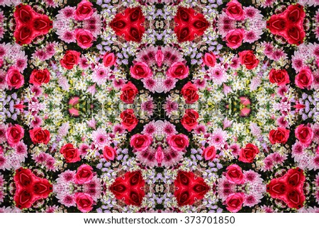 Beautiful abstract surreality pattern kaleidoscope geometric style ornament texture background made from fractal flower for use at graphic design