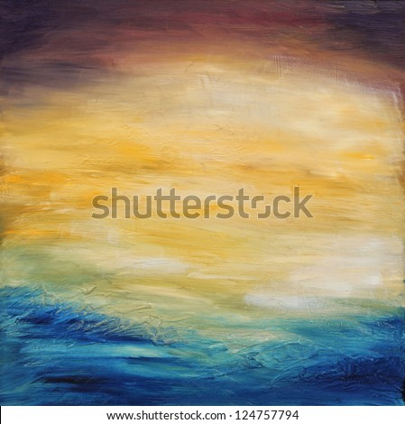 Beautiful abstract textured background of  evening sunset sky over the ocean. Original oil painting on canvas. - stock photo