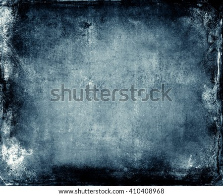 Beautiful abstract vintage grunge background with faded central area for your text or picture, scratched blue background - stock photo