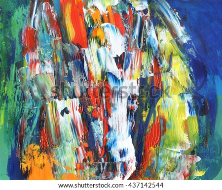Beautiful acrylic hand painted background, abstract modern style, colorful - stock photo