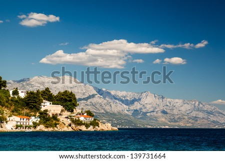 Beautiful Adriatic Beach and Lagoon with Blue Water near Split, Croatia - stock photo