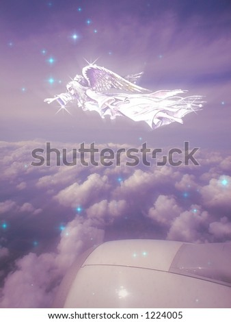 Beautiful aerial fantasy scene. Conceptual image based on photography during my last trip to Europe across the ocean .About 20,000 feet .We always need guardian on such long flights :-) - stock photo