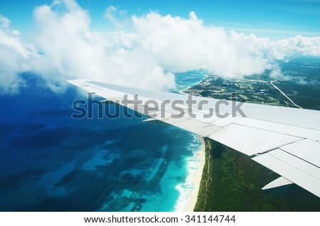 Beautiful aerial view from the plane over Punta Cana, Dominican Republic - stock photo