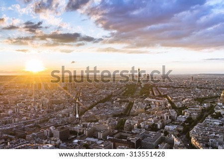 Beautiful aerial view of Eiffel Tower and Paris roofs at sunset HDR - stock photo