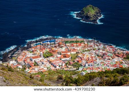 beautiful aerial view of Garachico village in Tenerife, Canary Islands, Spain - stock photo