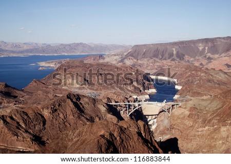 Beautiful aerial view of Hoover dam, Nevada - stock photo