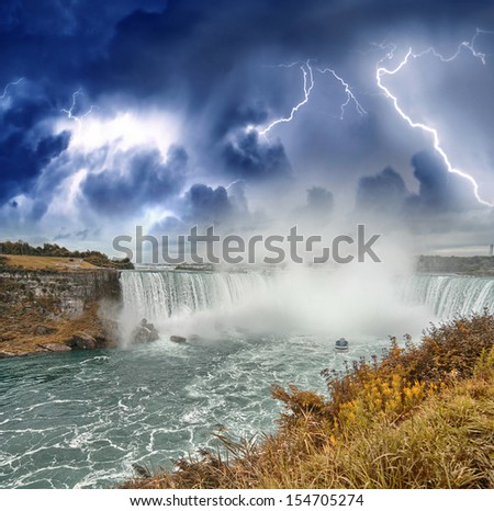 Beautiful aerial view of Niagara Falls during a storm. - stock photo