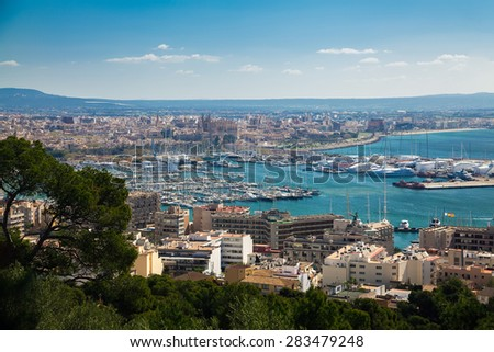 beautiful aerial view of the port and historical centre of Palma de Mallorca, Spain - stock photo