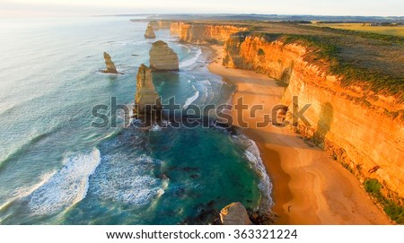 Beautiful aerial view of Twelve Apostles along Victoria coast, Australia. - stock photo
