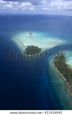 beautiful aerial view Rangiroa atoll in south pacific ocean