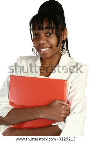Beautiful African Amercian 15 year old Teen Girl in suit holding folder. - stock photo