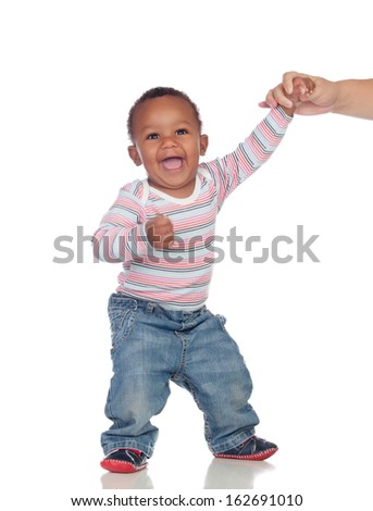 Beautiful African American baby learning to walk isolated on a white background - stock photo