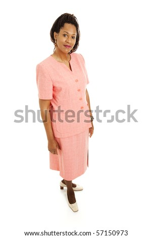 Beautiful African-American businesswoman.  Full body isolated on white.