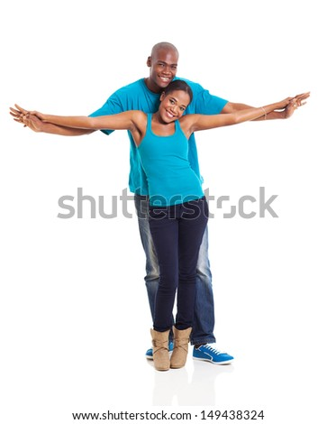 beautiful african american couple on white background - stock photo