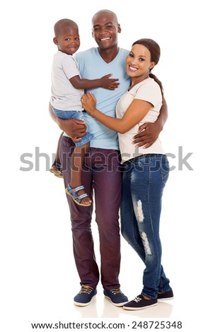 beautiful african american family isolated on white background - stock photo
