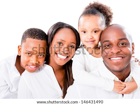 Beautiful African American family - isolated over a white background  - stock photo