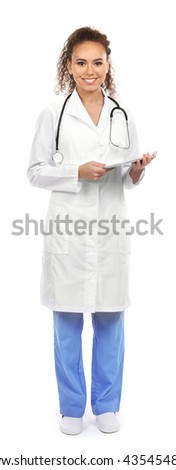 Beautiful African American female doctor on white background