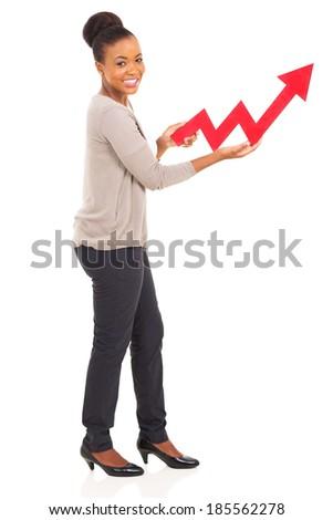 beautiful african american girl holding growth arrow - stock photo